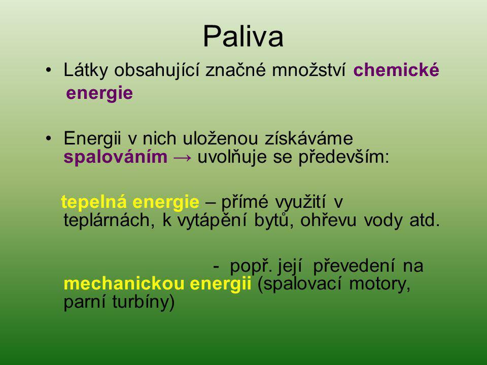 Paliva Látky obsahující značné množství chemické energie