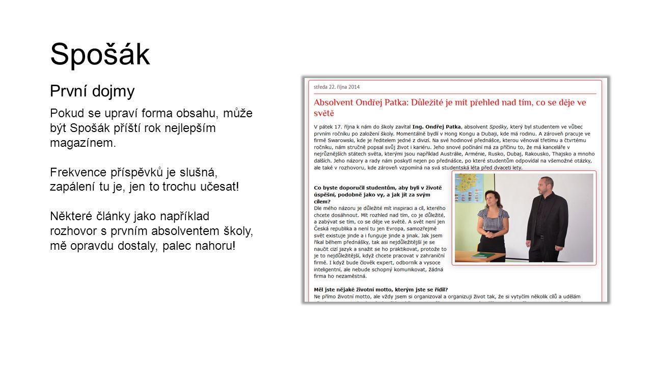 Spošák První dojmy. Pokud se upraví forma obsahu, může být Spošák příští rok nejlepším magazínem.