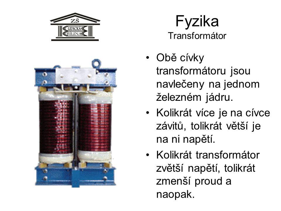 Fyzika Transformátor Obě cívky transformátoru jsou navlečeny na jednom železném jádru.