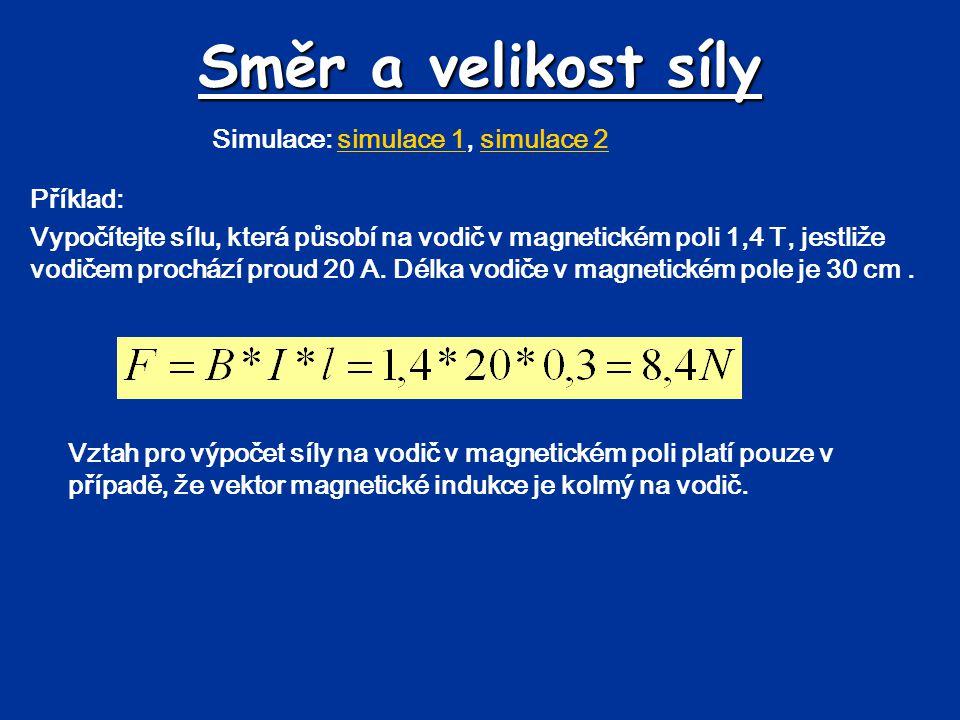Směr a velikost síly Simulace: simulace 1, simulace 2 Příklad: