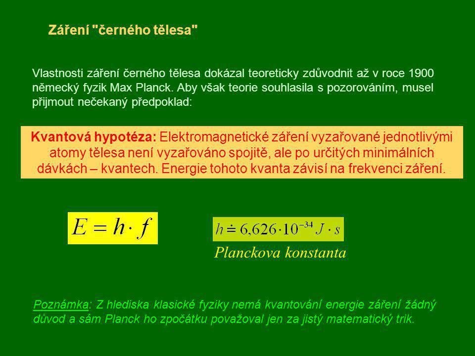 Planckova konstanta Záření černého tělesa