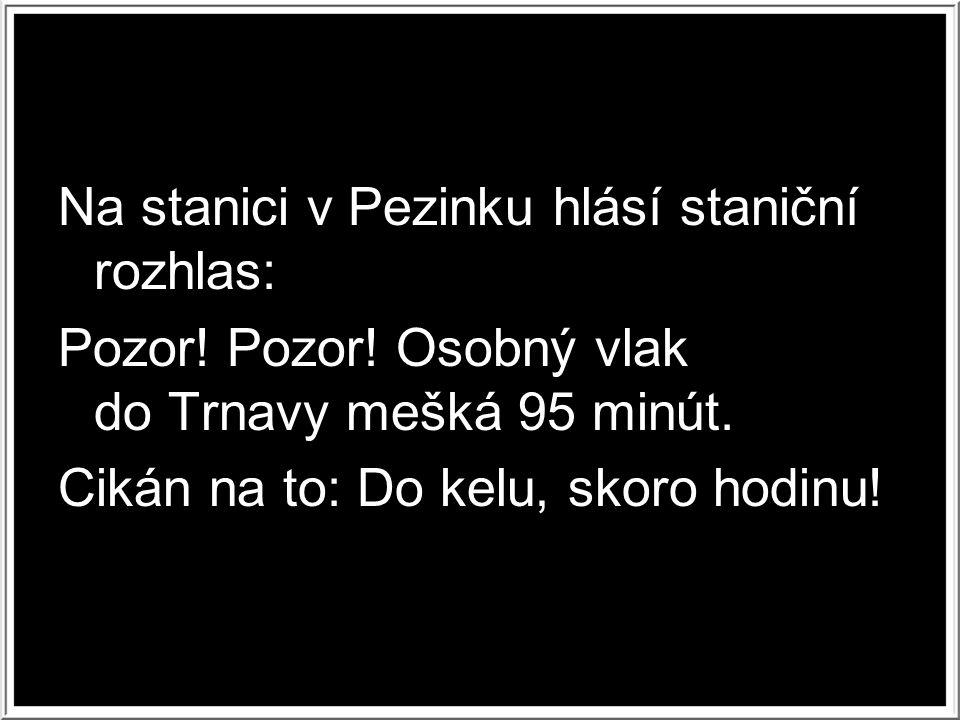 Na stanici v Pezinku hlásí staniční rozhlas: