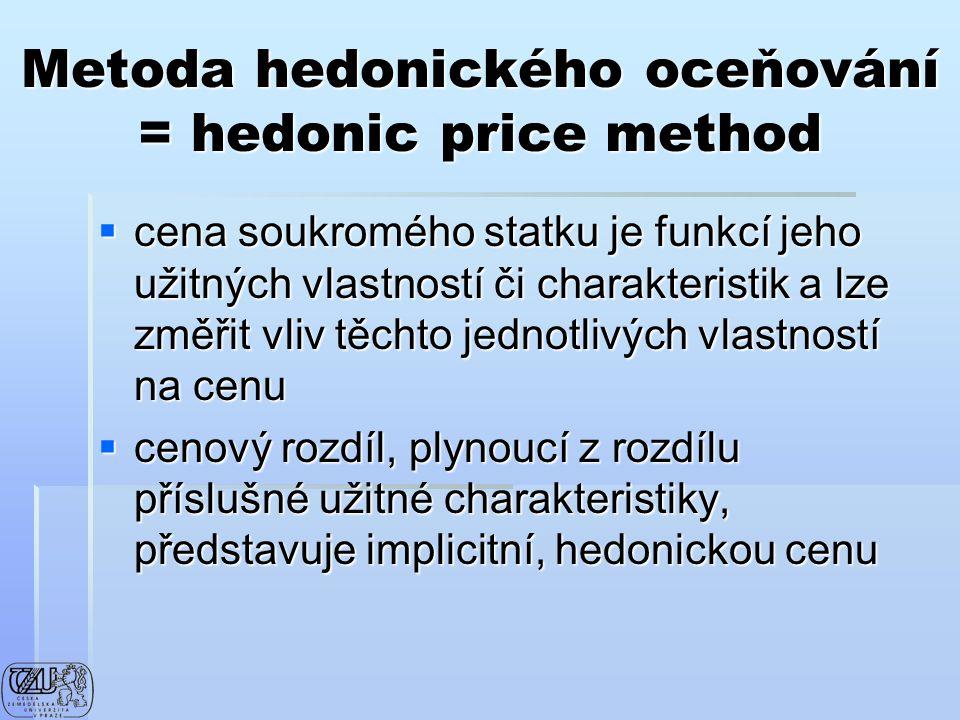 Metoda hedonického oceňování = hedonic price method