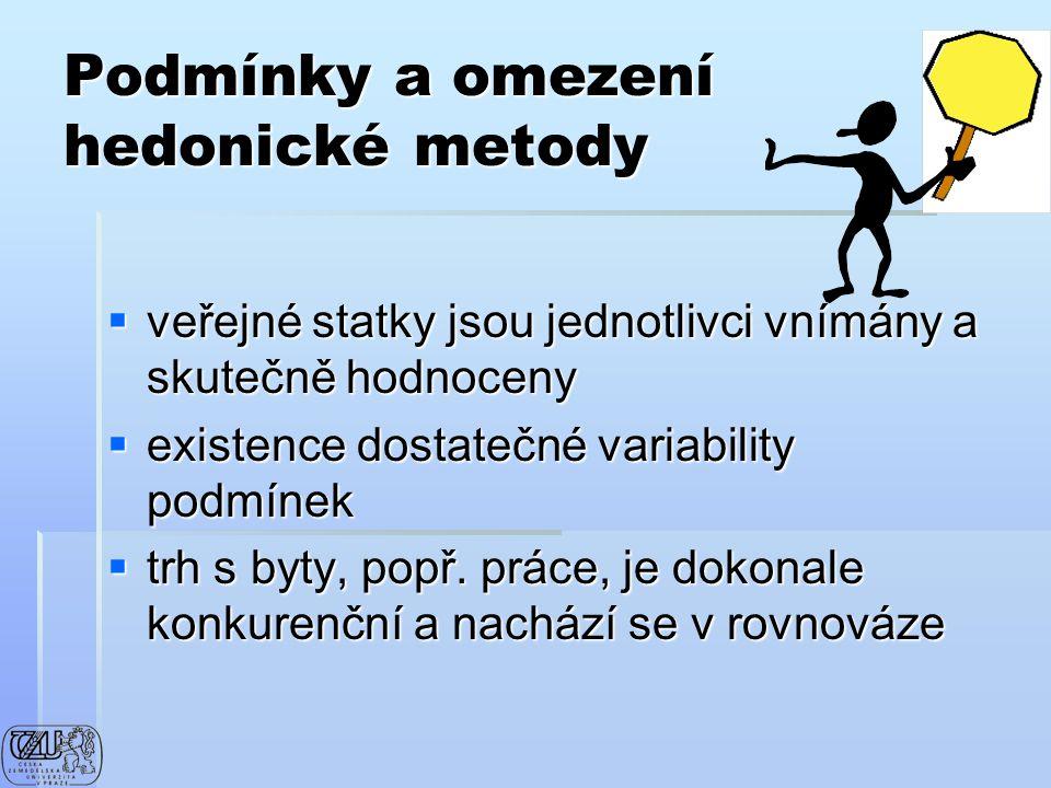 Podmínky a omezení hedonické metody