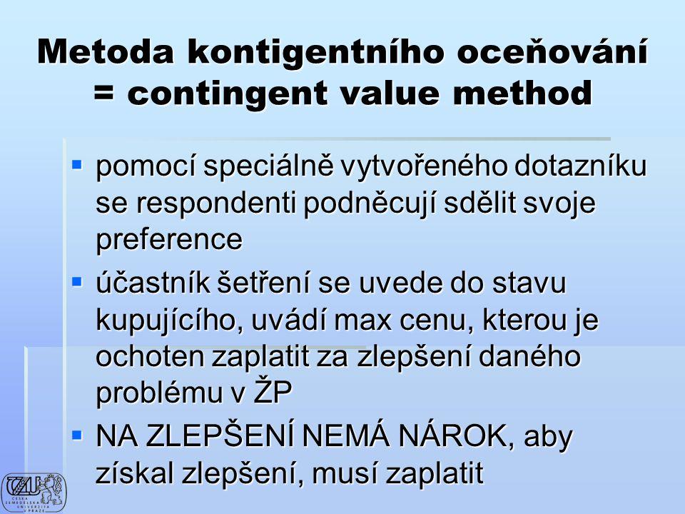 Metoda kontigentního oceňování = contingent value method