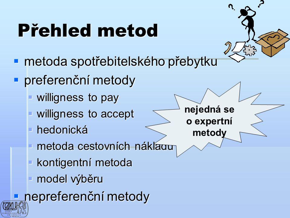 Přehled metod metoda spotřebitelského přebytku preferenční metody
