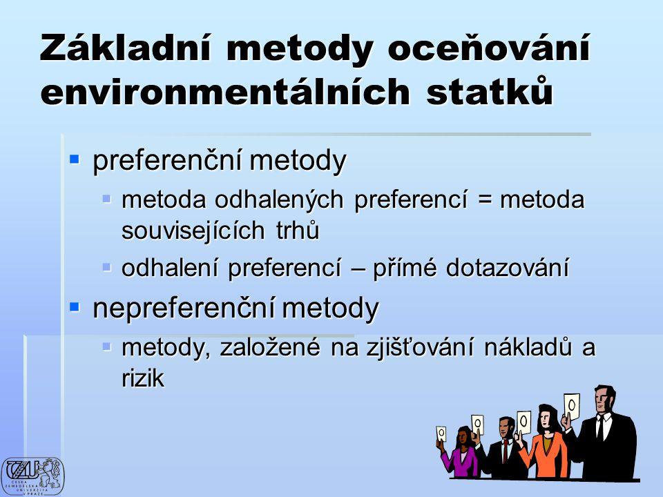 Základní metody oceňování environmentálních statků