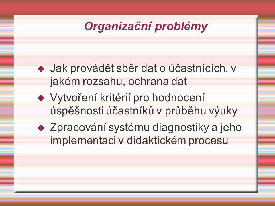 Organizační problémy Jak provádět sběr dat o účastnících, v jakém rozsahu, ochrana dat.