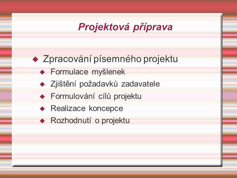Projektová příprava Zpracování písemného projektu Formulace myšlenek