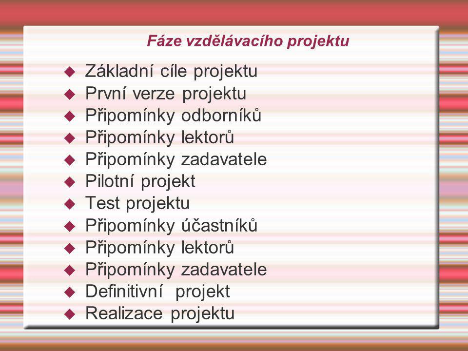 Fáze vzdělávacího projektu