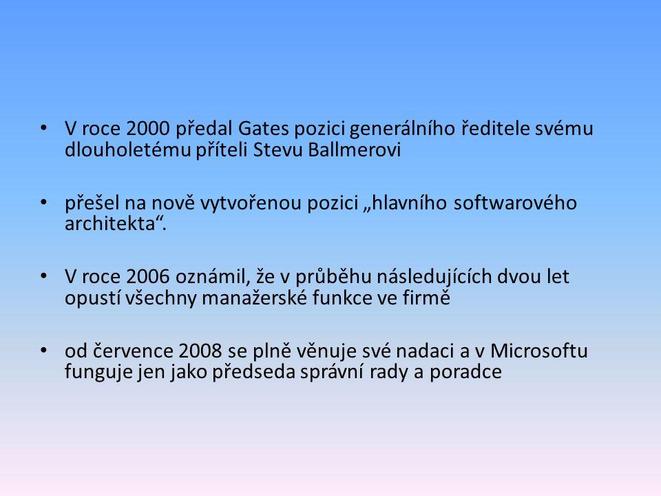 V roce 2000 předal Gates pozici generálního ředitele svému dlouholetému příteli Stevu Ballmerovi