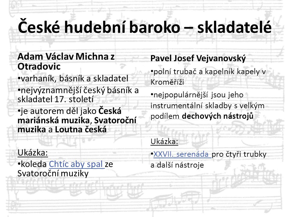 České hudební baroko – skladatelé