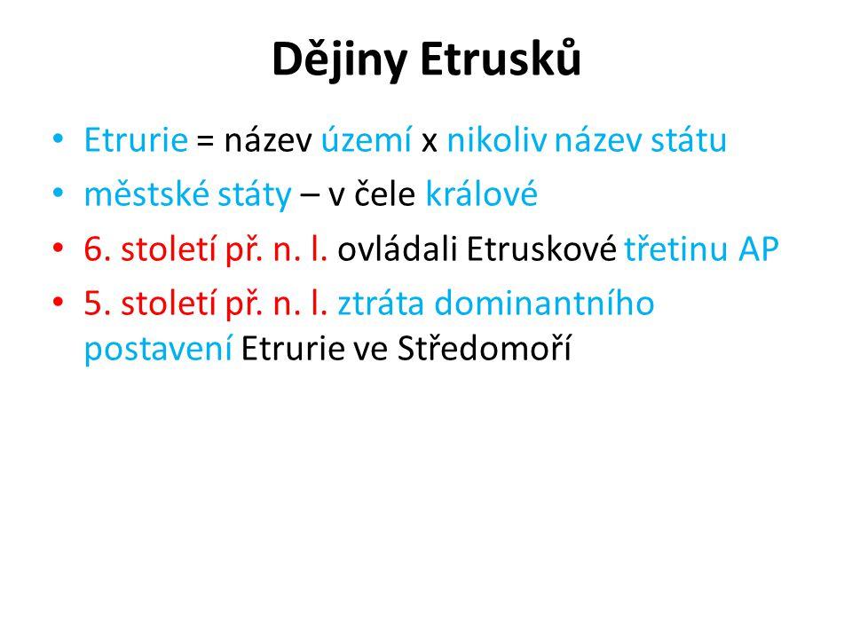 Dějiny Etrusků Etrurie = název území x nikoliv název státu