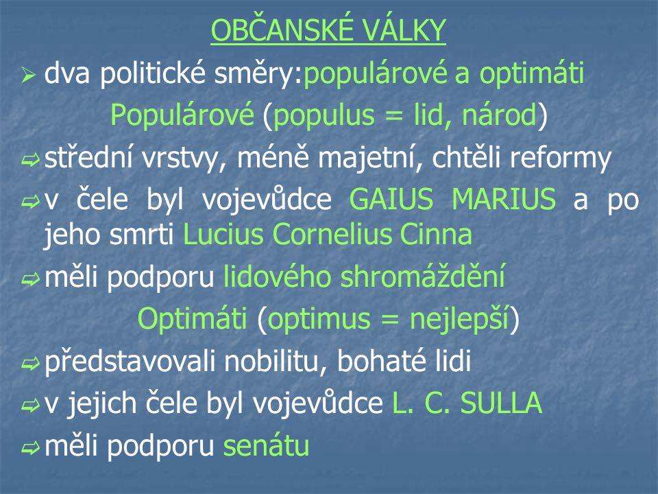 dva politické směry:populárové a optimáti