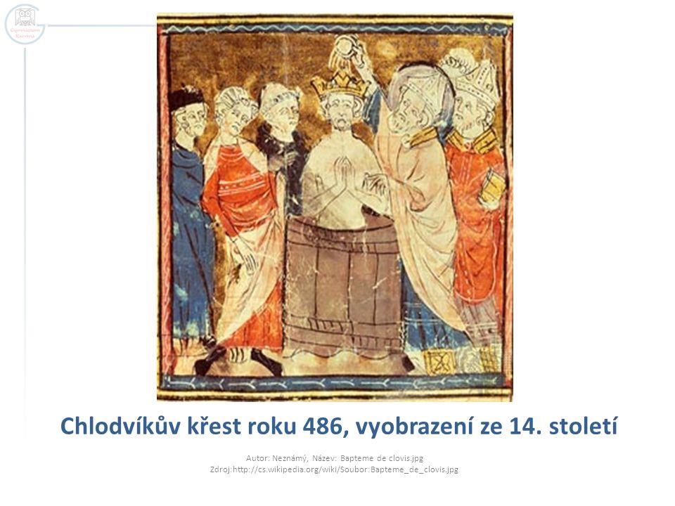 Chlodvíkův křest roku 486, vyobrazení ze 14. století