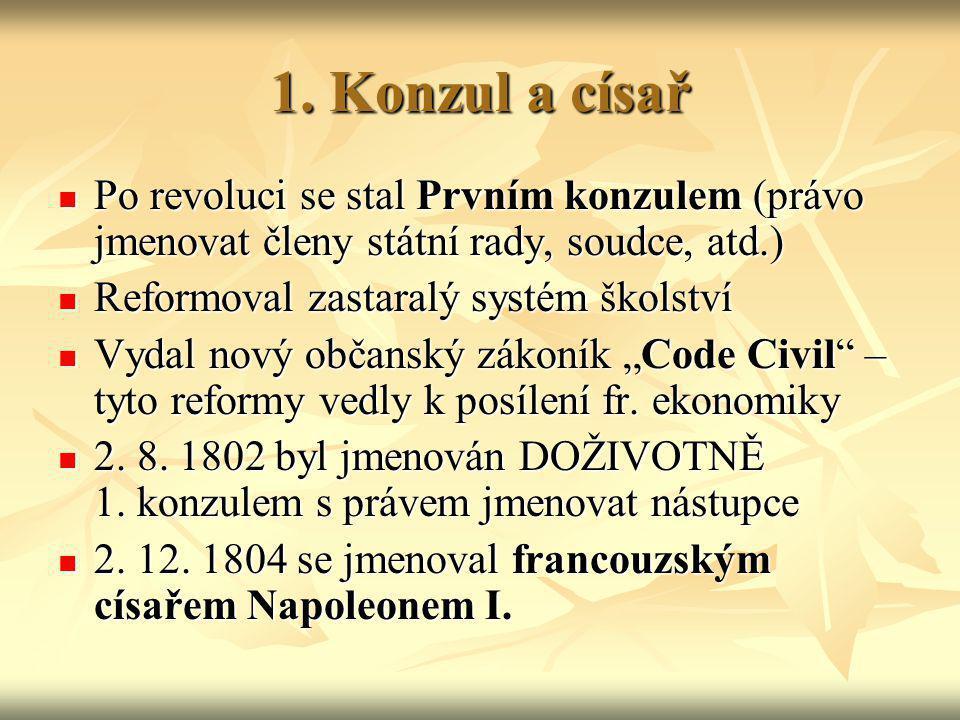 1. Konzul a císař Po revoluci se stal Prvním konzulem (právo jmenovat členy státní rady, soudce, atd.)