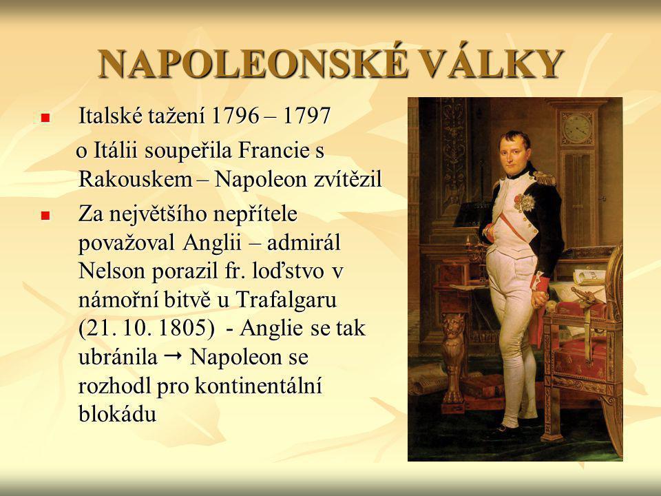 NAPOLEONSKÉ VÁLKY Italské tažení 1796 – 1797