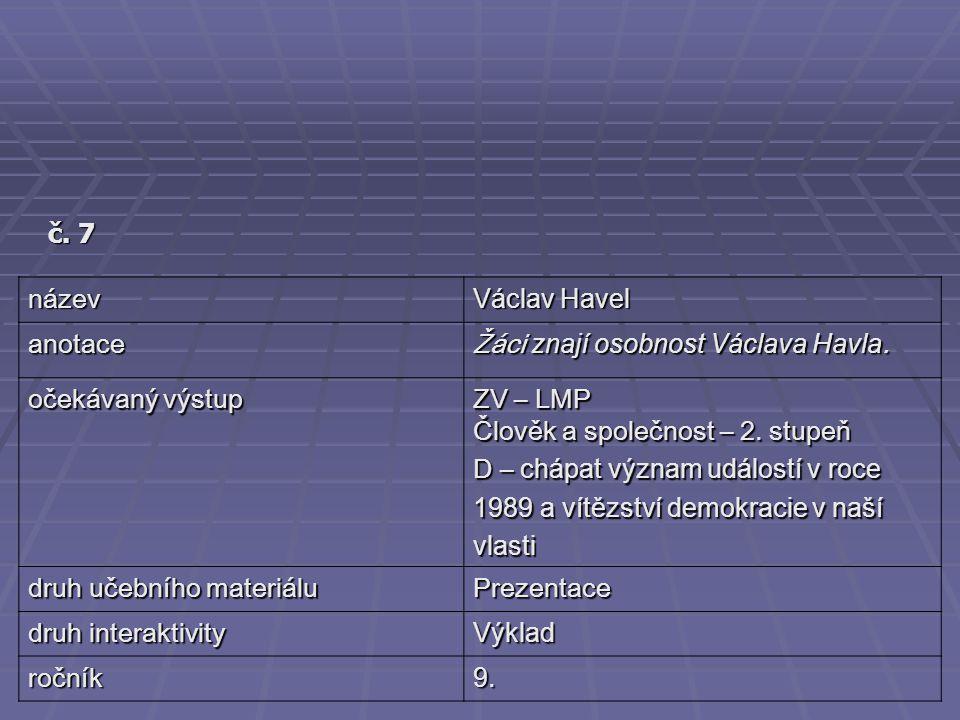 č. 7 název. Václav Havel. anotace. Žáci znají osobnost Václava Havla. očekávaný výstup. ZV – LMP.