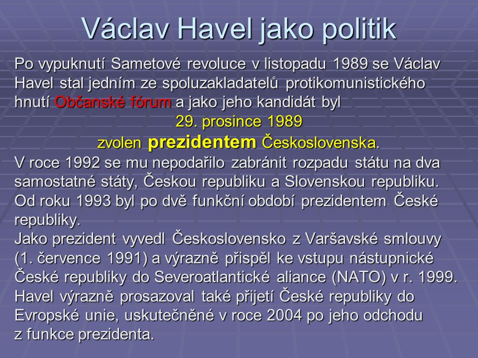 Václav Havel jako politik