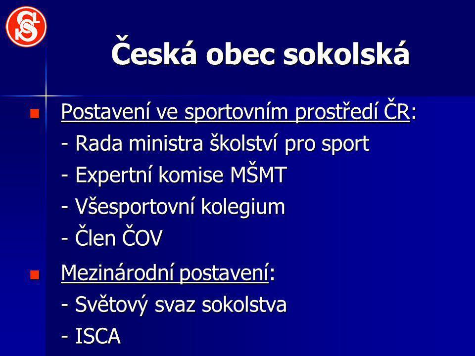 Česká obec sokolská Postavení ve sportovním prostředí ČR:
