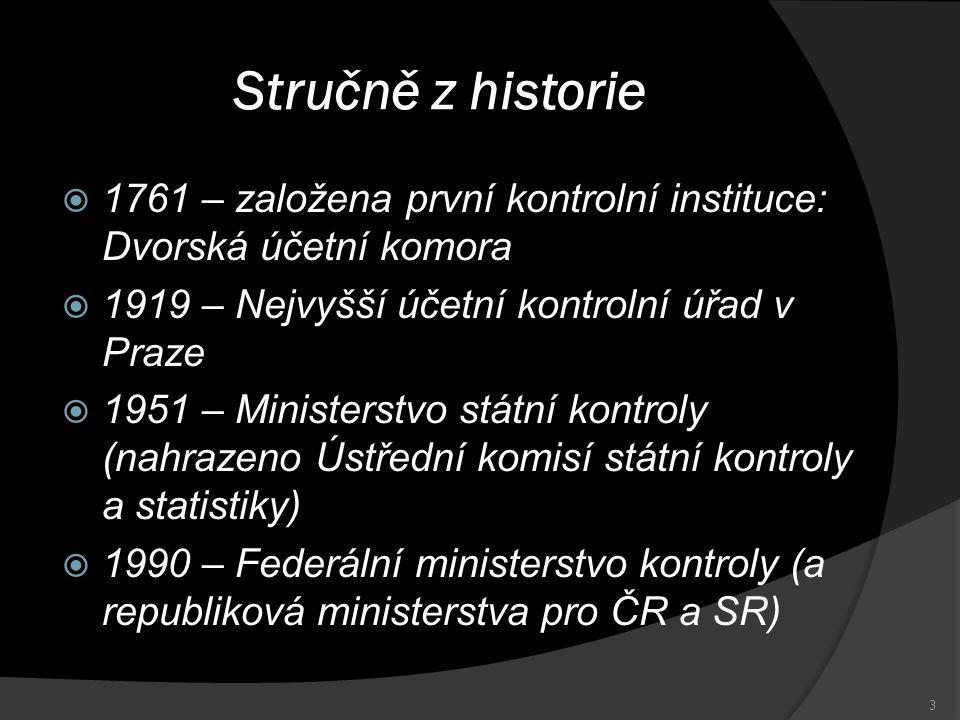 Stručně z historie 1761 – založena první kontrolní instituce: Dvorská účetní komora. 1919 – Nejvyšší účetní kontrolní úřad v Praze.