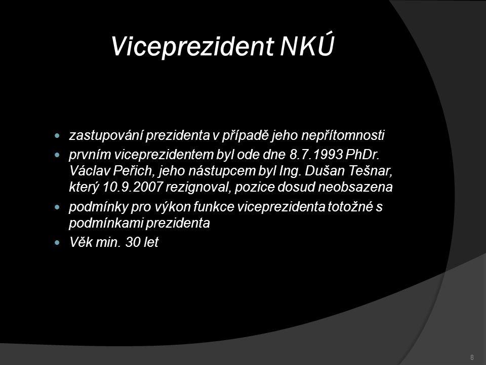 Viceprezident NKÚ zastupování prezidenta v případě jeho nepřítomnosti