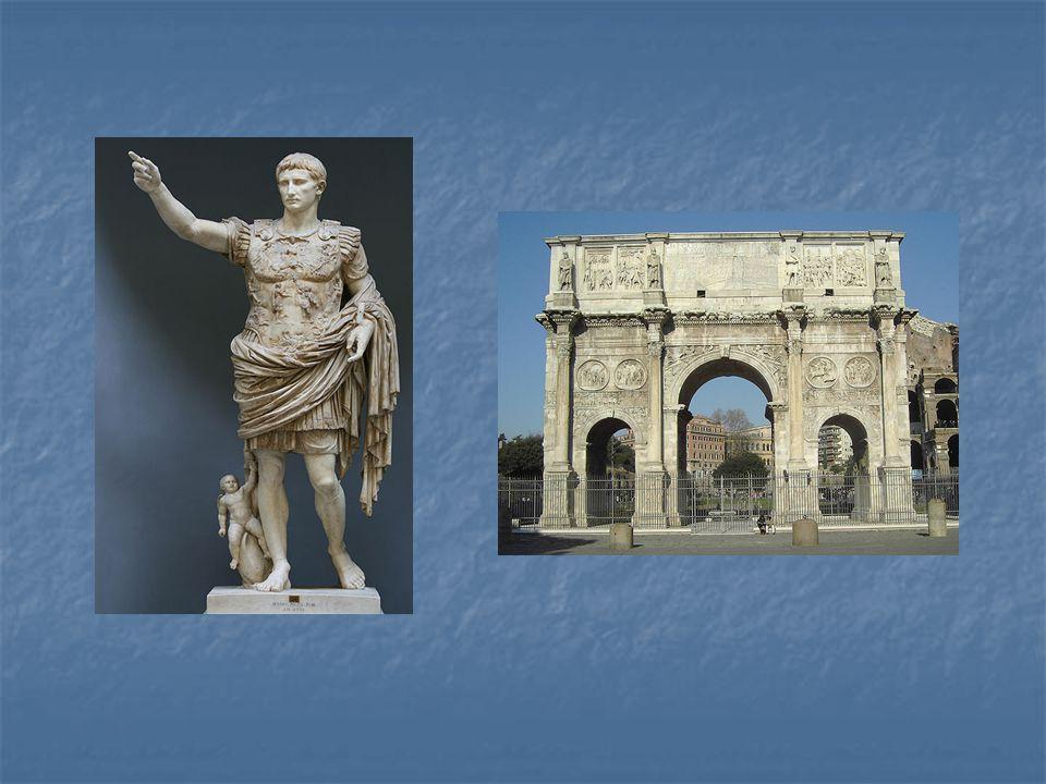 Vlevo: majestátní socha prvního císaře Augusta z 1. století n. l