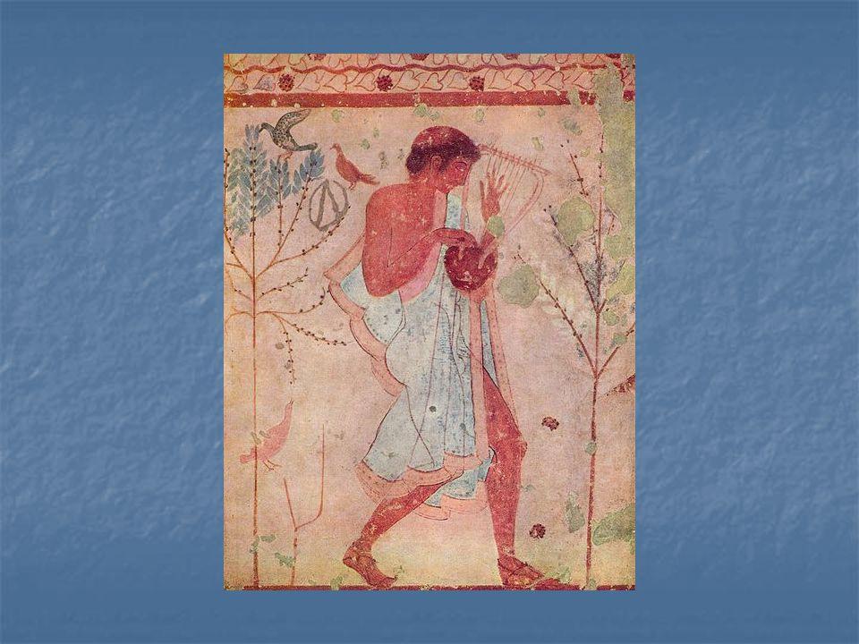 Hudebník – nástěnná malba hrobky v Tarquiniích, 480 př.n.l.