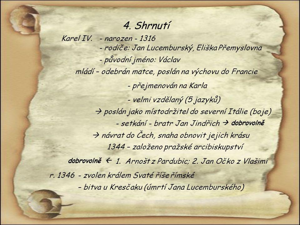 4. Shrnutí Karel IV. - narozen - 1316