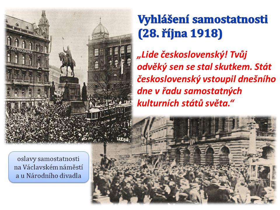 oslavy samostatnosti na Václavském náměstí a u Národního divadla