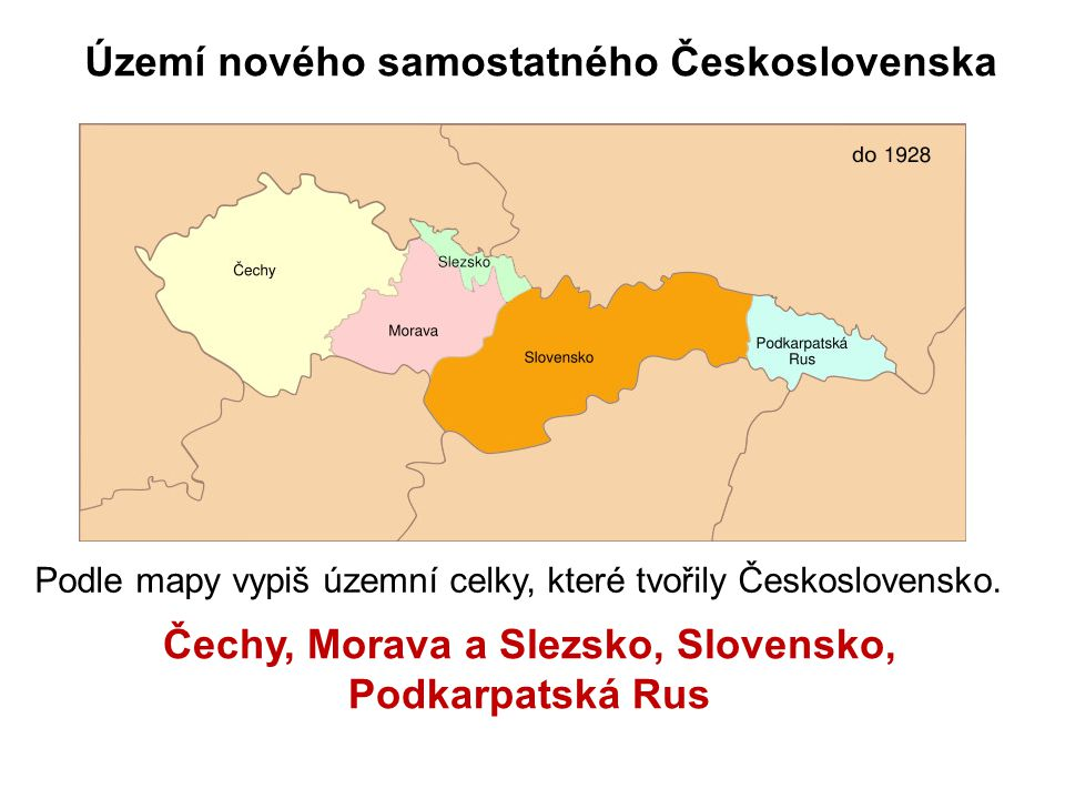 Čechy, Morava a Slezsko, Slovensko, Podkarpatská Rus
