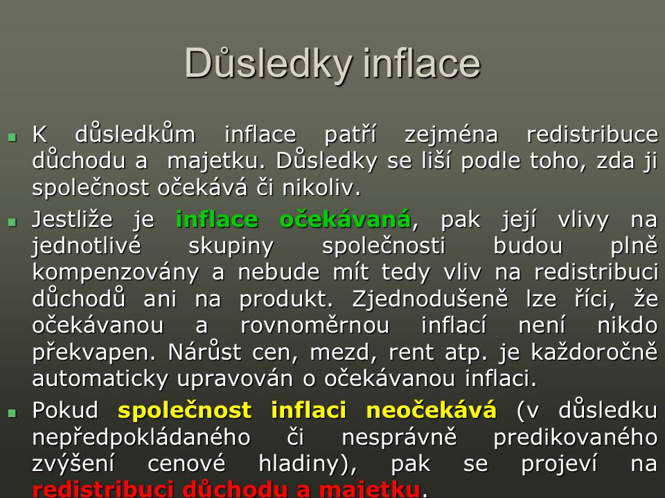 Důsledky inflace