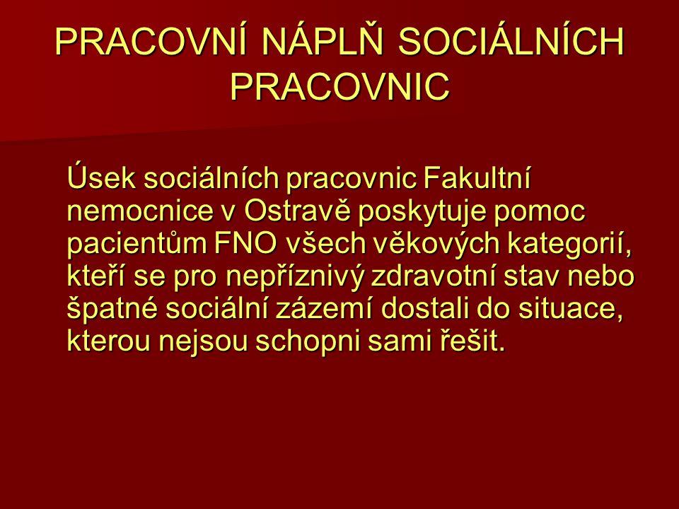 PRACOVNÍ NÁPLŇ SOCIÁLNÍCH PRACOVNIC