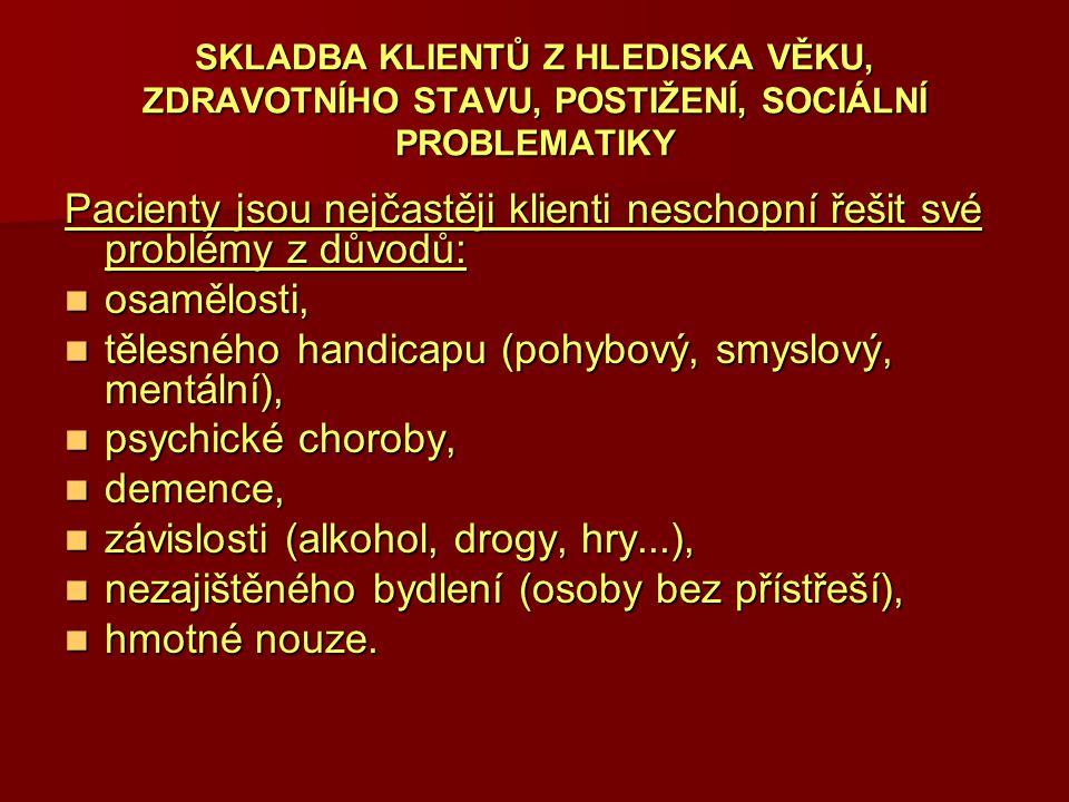 tělesného handicapu (pohybový, smyslový, mentální), psychické choroby,