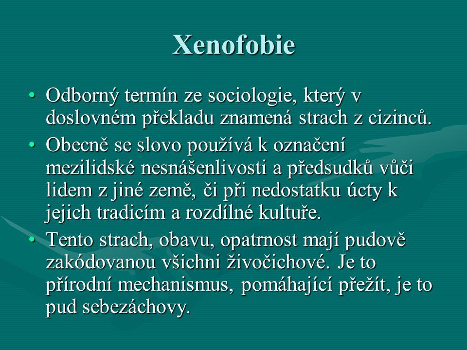 Xenofobie Odborný termín ze sociologie, který v doslovném překladu znamená strach z cizinců.