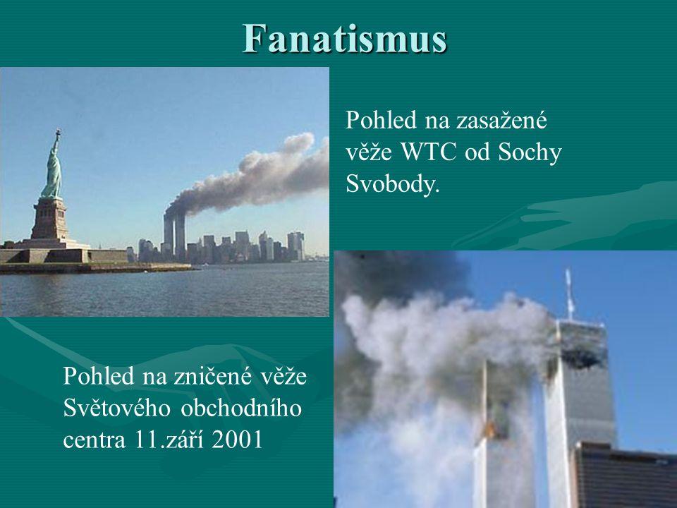 Fanatismus Pohled na zasažené věže WTC od Sochy Svobody.