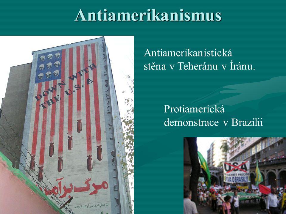 Antiamerikanismus Antiamerikanistická stěna v Teheránu v Íránu.