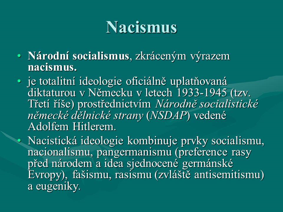 Nacismus Národní socialismus, zkráceným výrazem nacismus.