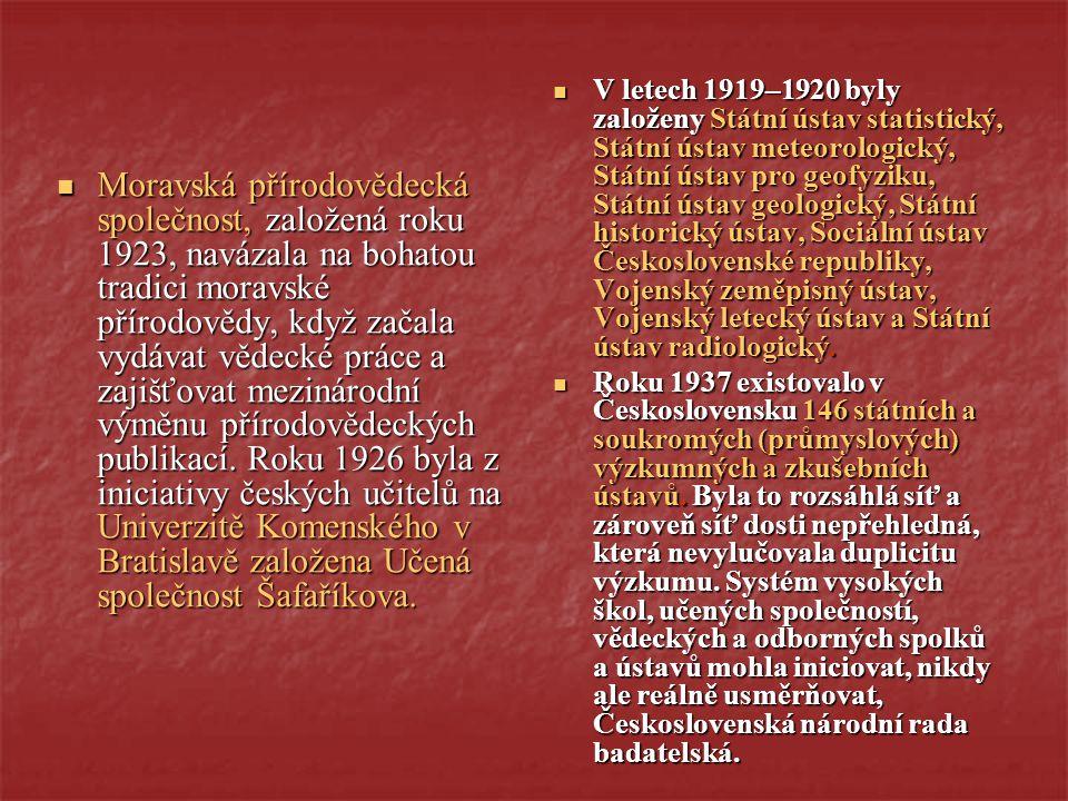 V letech 1919–1920 byly založeny Státní ústav statistický, Státní ústav meteorologický, Státní ústav pro geofyziku, Státní ústav geologický, Státní historický ústav, Sociální ústav Československé republiky, Vojenský zeměpisný ústav, Vojenský letecký ústav a Státní ústav radiologický.