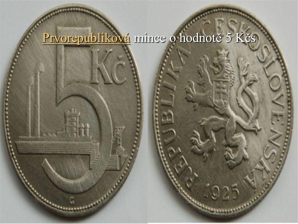Prvorepubliková mince o hodnotě 5 Kčs
