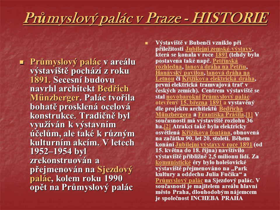 Průmyslový palác v Praze - HISTORIE