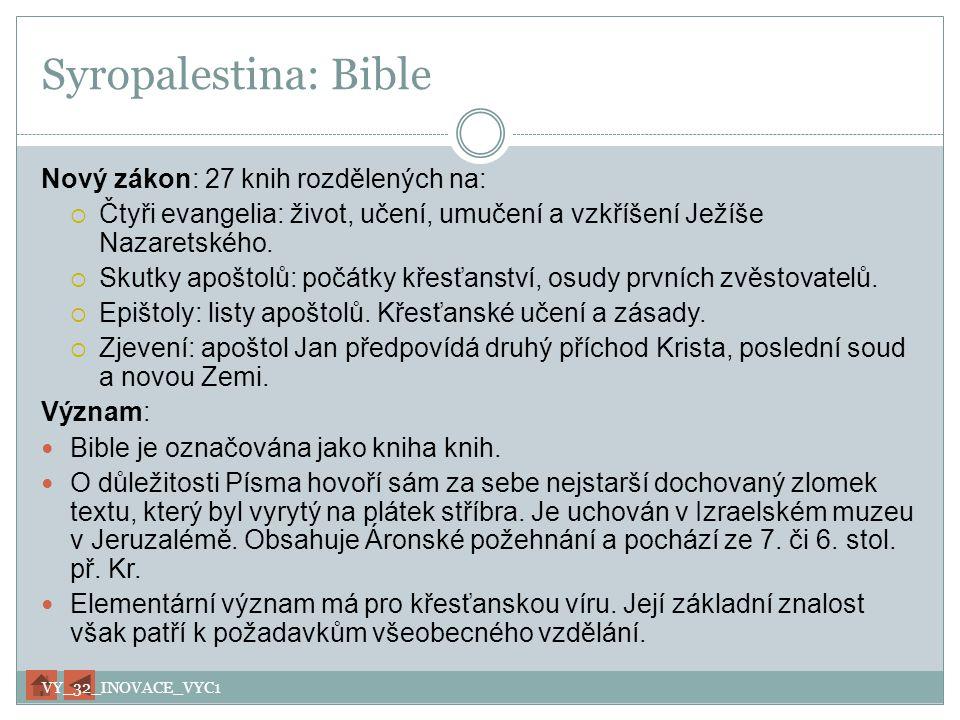 Syropalestina: Bible Nový zákon: 27 knih rozdělených na: