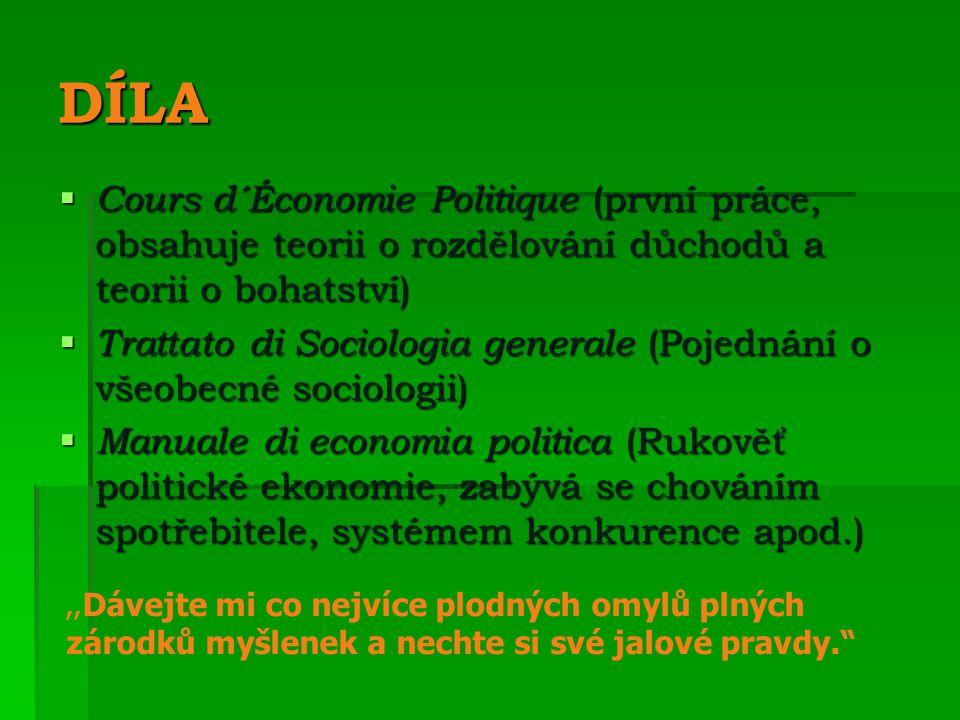 DÍLA Cours d´Économie Politique (první práce, obsahuje teorii o rozdělování důchodů a teorii o bohatství)