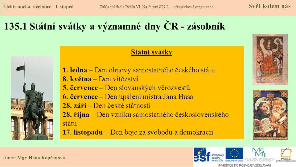 135.1 Státní svátky a významné dny ČR - zásobník