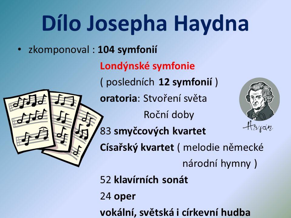 Dílo Josepha Haydna zkomponoval : 104 symfonií Londýnské symfonie