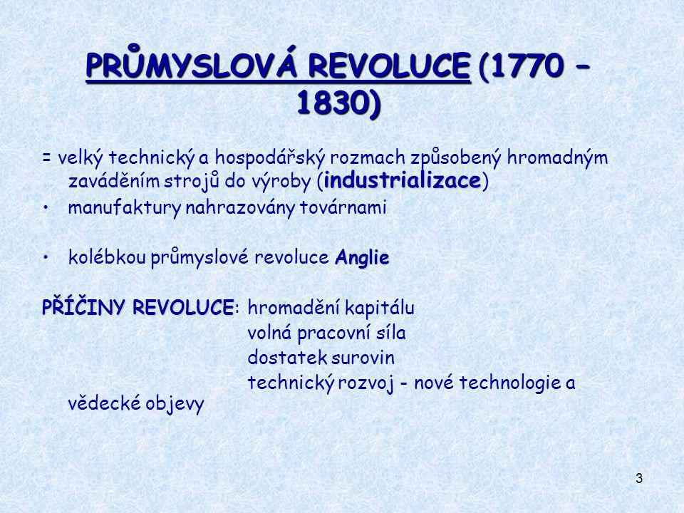 PRŮMYSLOVÁ REVOLUCE (1770 – 1830)