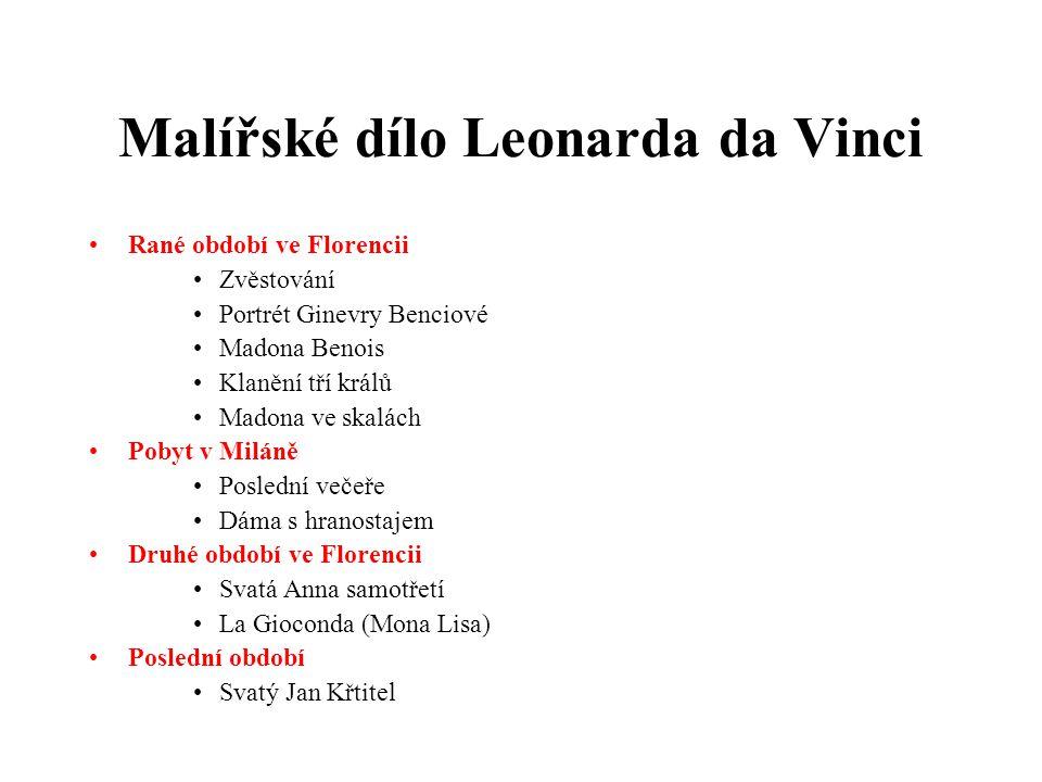 Malířské dílo Leonarda da Vinci