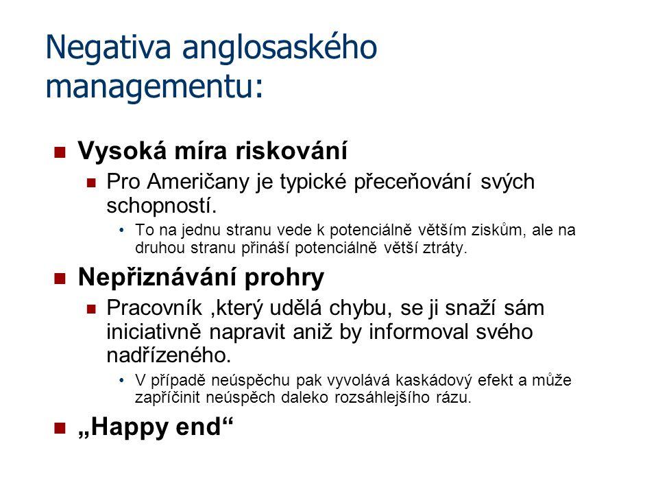 Negativa anglosaského managementu: