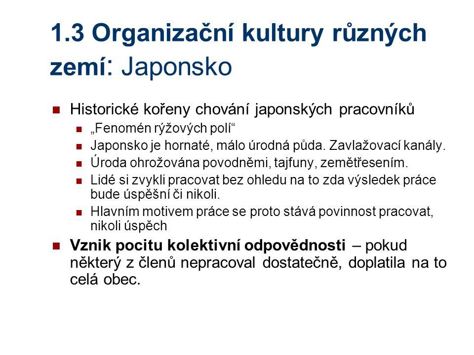 1.3 Organizační kultury různých zemí: Japonsko