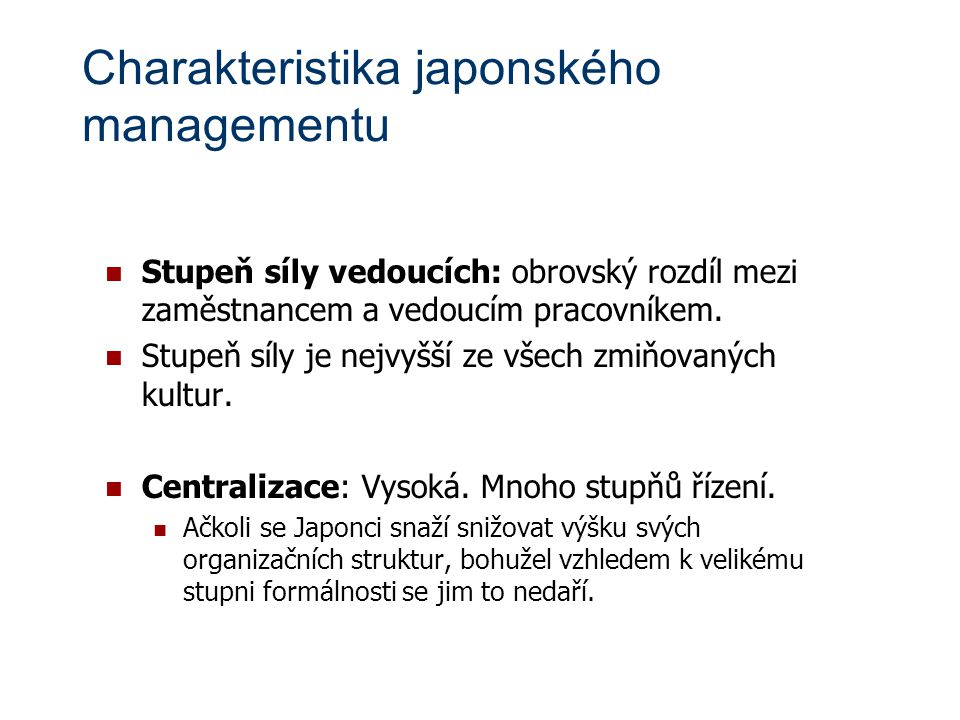 Charakteristika japonského managementu